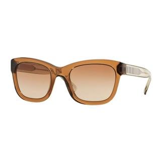 Burberry Women's BE4209 356413 Brown Plastic Square Sunglasses