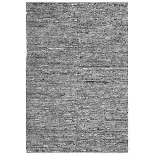 Jani Lena Pale Blue and Grey Leather and Cotton Rug (8' x 10')