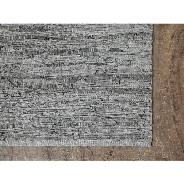 Jani Lena Pale Blue and Grey Leather and Cotton Rug (4' x 6')