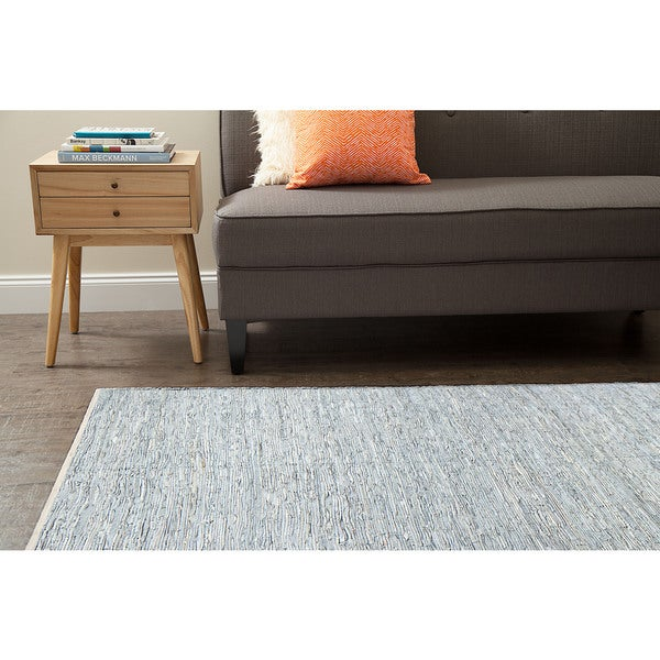 Jani Rendi White and Pale Blue Leather and Cotton Rug (8' x 10')