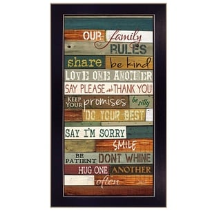 """Our Family Rules"" By Marla Rae, Printed Wall Art, Ready To Hang Framed Poster, Black Frame"