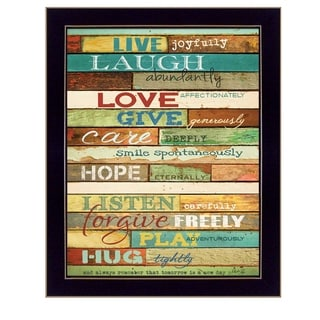 """Live Joyfully"" By Marla Rae, Printed Wall Art, Ready To Hang Framed Poster, Black Frame"