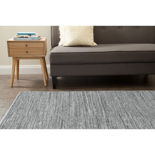 Jani Lena Pale Blue and Grey Leather and Cotton Rug (5' x 7')