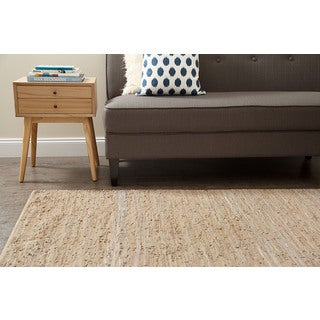 Jani Rita Beige Leather and Cotton Rug (8' x 10')