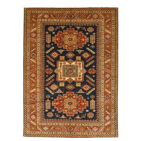 Hand-knotted Wool Navy Traditional Geometric Super Kazak Rug (6'11 x 9'7) 18751708
