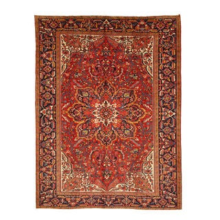 EORC Hand Knotted Wool Rust Heriz Rug (8'10 x 11'10)