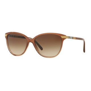 Burberry Women's BE4216 317313 Brown Plastic Cat Eye Sunglasses