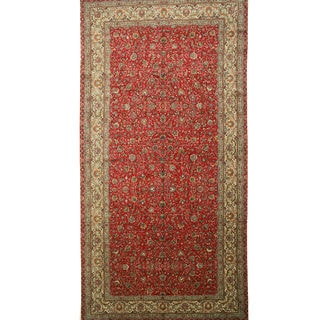 EORC Hand Knotted Wool Red Tabriz Rug (9'3 x 17'11)