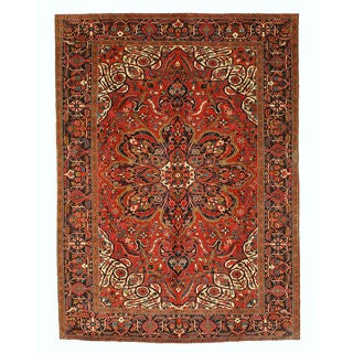 EORC Hand Knotted Wool Rust Heriz Rug (8'9 x 12')