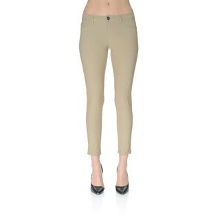 Todays Apparel Women's Beige Polycotton Skinny Ankle Pants