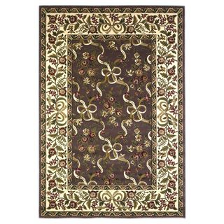 """Cambridge 7311 Plum/Ivory Floral Ribbons 7'7"""" Octagon Rug"""