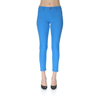 Today's Apparel Women's Skinny-fit Blue Ankle Pants
