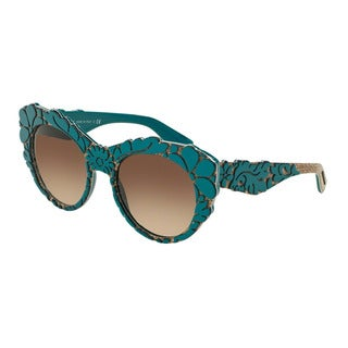 D&G Women's DG4267 300013 Green Plastic Round Sunglasses