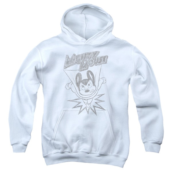 Mighty Mouse/Bursting Out Youth Pull-Over Hoodie in White