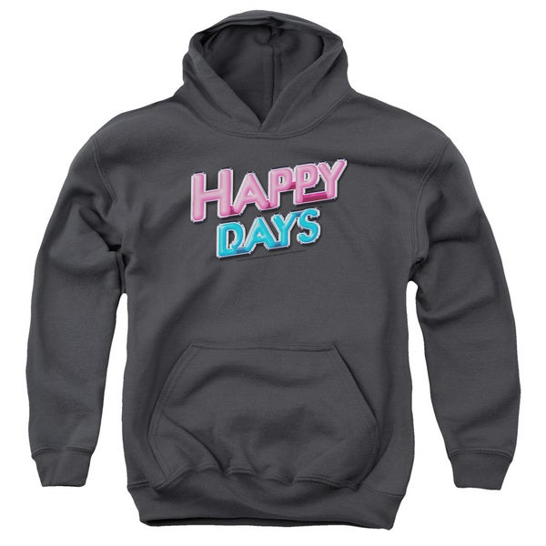 Happy Days/Happy Days Logo Youth Pull-Over Hoodie in Charcoal