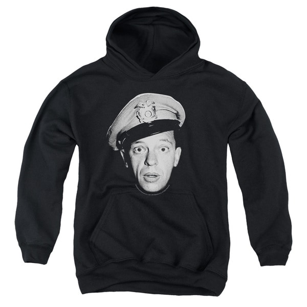 Andy Griffith/Barney Head Youth Pull-Over Hoodie in Black