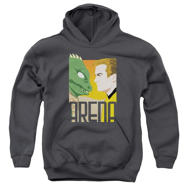 Star Trek/Arena Youth Pull-Over Hoodie in Charcoal