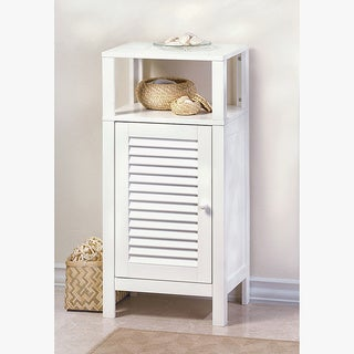 Olympia White MDF and Wood Louvered Cabinet