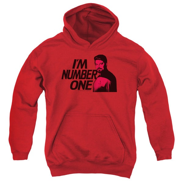 Star Trek/Im Number One Youth Pull-Over Hoodie in Red