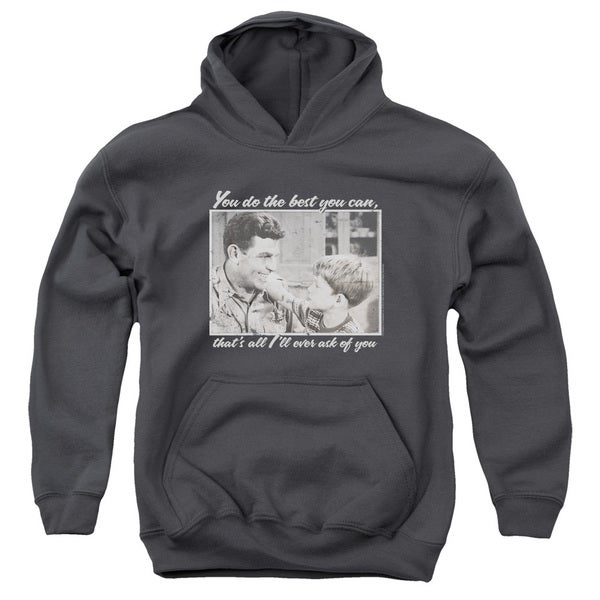 Andy Griffith/Wise Words Youth Pull-Over Hoodie in Charcoal