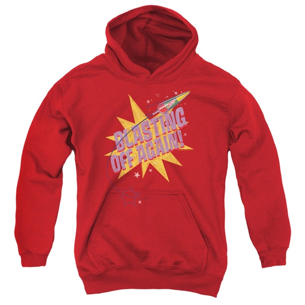 Astro Pop/Blast Off Youth Pull-Over Hoodie in Red