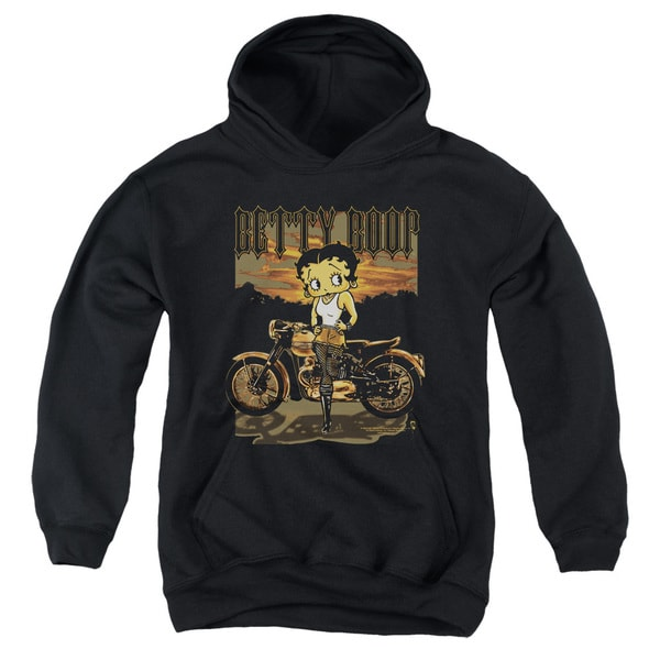 Boop/Rebel Rider Youth Pull-Over Hoodie in Black