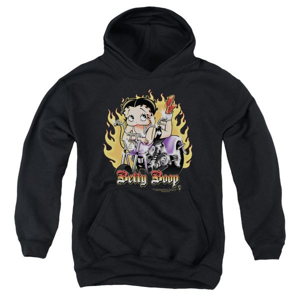 Boop/Biker Flames Boop Youth Pull-Over Hoodie in Black