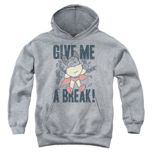 Mighty Mouse/Give Me A Break Youth Pull-Over Hoodie in Heather