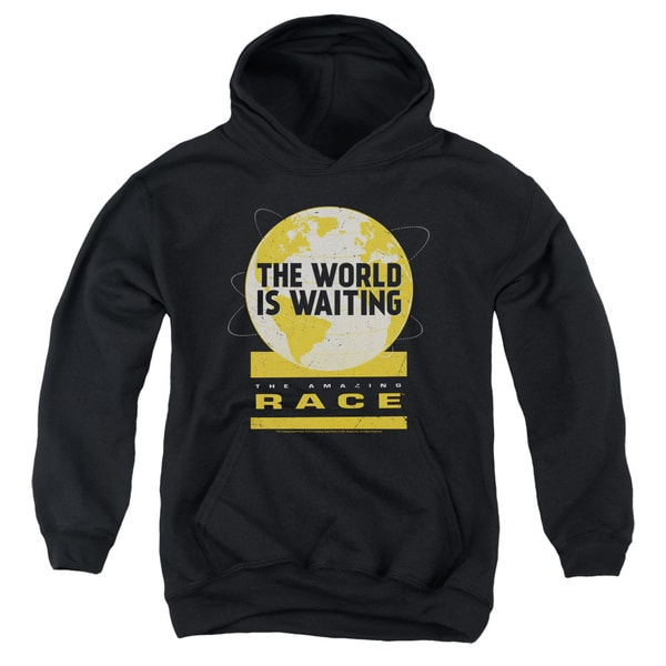 Amazing Race/Waiting World Youth Pull-Over Hoodie in Black