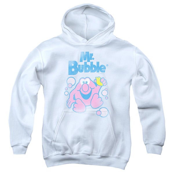 Mr Bubble/80S Logo Youth Pull-Over Hoodie in White
