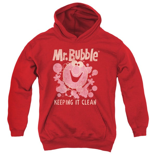 Mr Bubble/Keeping It Clean Youth Pull-Over Hoodie in Red