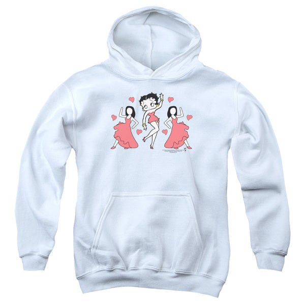Betty Boop/Bb Dance Youth Pull-Over Hoodie in White