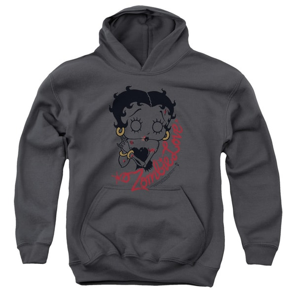 Betty Boop/Classic Zombie Youth Pull-Over Hoodie in Charcoal