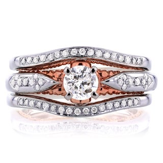 Annello 14k White Gold and Rose Gold Underside 2/3ct TDW Diamond Unique Halo Bridal Rings Set (H-I, I1-I2)