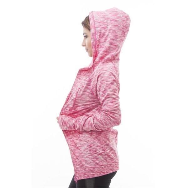 Soho Women Long Sleeve Casual Pink Space Dye Sports Hoodie Sweatshirt Sweater 18754305