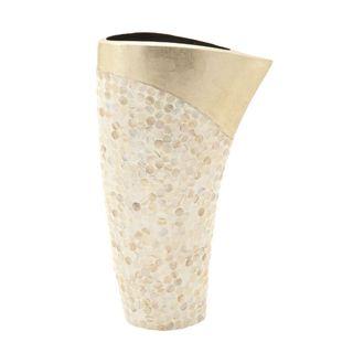 Benzara Gold Ceramic Shell Vase