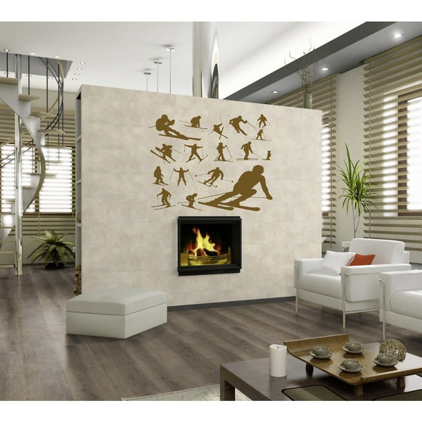 Race skiing Wall Art Sticker Decal Brown