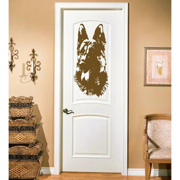 Muzzle Shepherd dog Wall Art Sticker Decal Brown