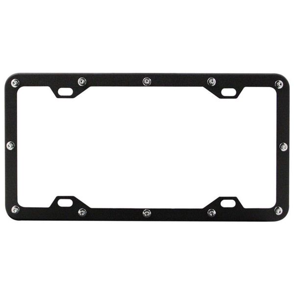 Pilot Automotive Black Flat Rivet License Plate Frame for Vehicles Automobile