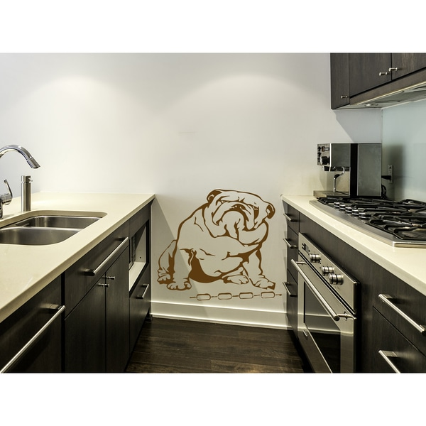 English Bulldog with sausages Wall Art Sticker Decal Brown