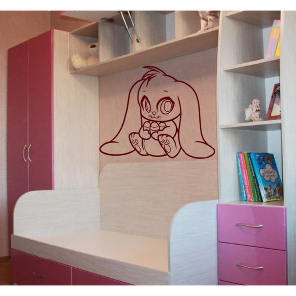 Honey bunny Wall Art Sticker Decal Red