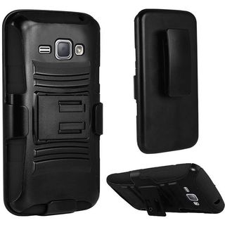 Insten Hard PC/ Silicone Dual Layer Hybrid Case Cover with Stand/ Holster For Samsung Galaxy J1 (2016)
