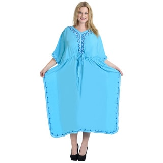 La Leela Women's Blue Rayon Embroidered Kaftan