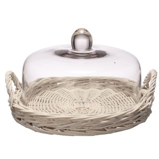 11-inch x 10.5-inch x 6-inch Glass Dome Handled Tray