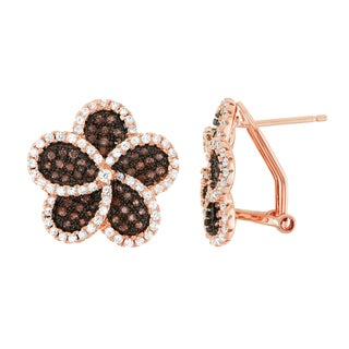 Gioelli Rose Gold over Silver Mocha Cubic Zirconia Flower Pave Earrings
