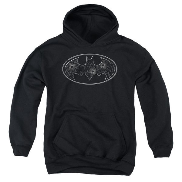 Batman/Glass Hole Logo Youth Pull-Over Hoodie in Black