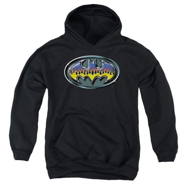 Batman/Hot Rod Shield Youth Pull-Over Hoodie in Black