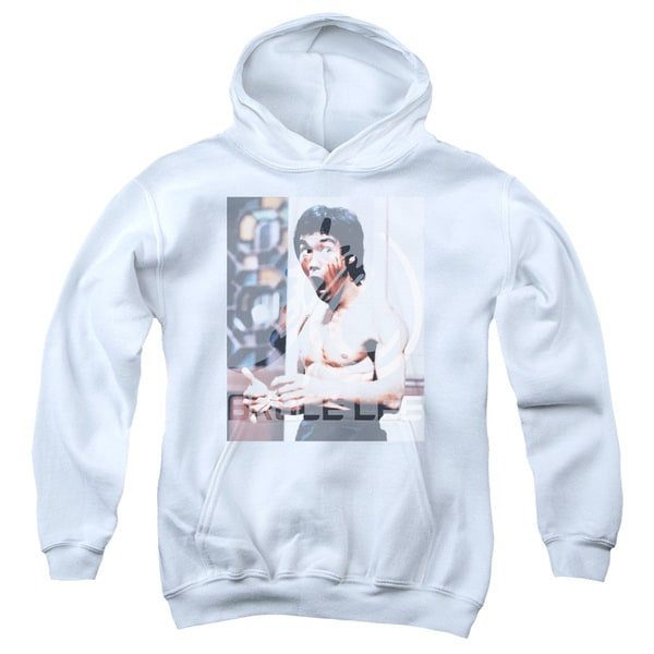 Bruce Lee/Revving Up Youth Pull-Over Hoodie in White