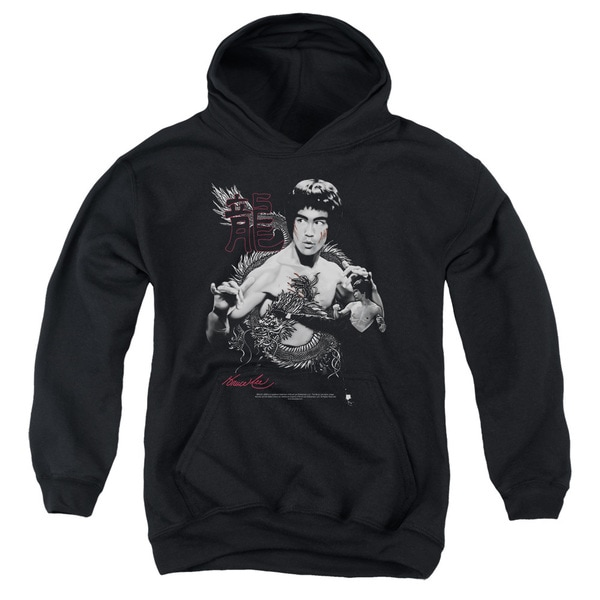 Bruce Lee/The Dragon Youth Pull-Over Hoodie in Black