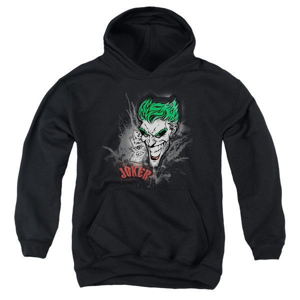 Batman/Joker Sprays The City Youth Pull-Over Hoodie in Black